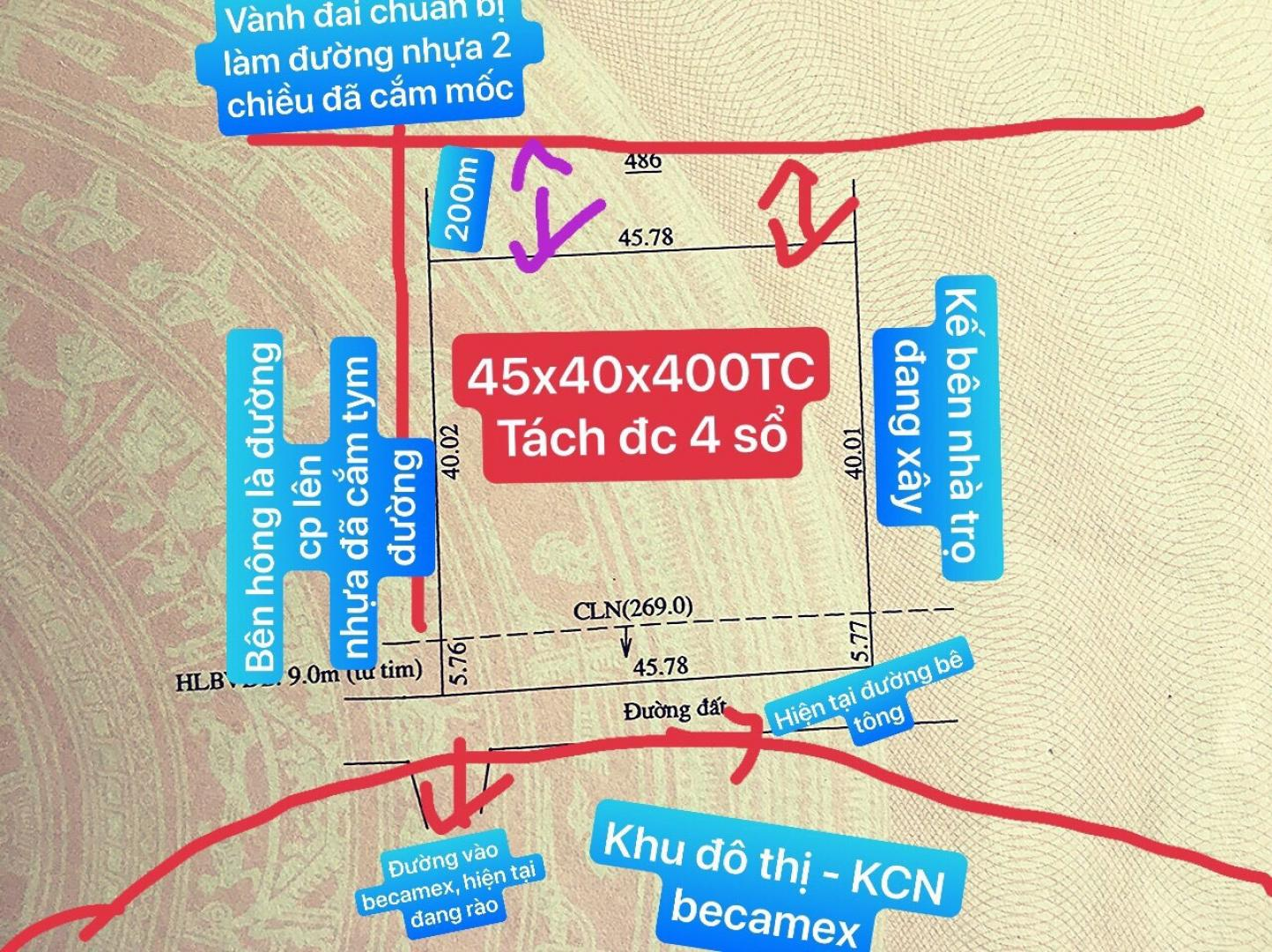 BÁN ĐẤT 2 MẶT TIỀN NGAY CỔNG BECAMEX - 400M2 THỔ CƯ, THÍCH HỢP MỞ QUÁN ĂN, XÂY Trọ image-thumb-0